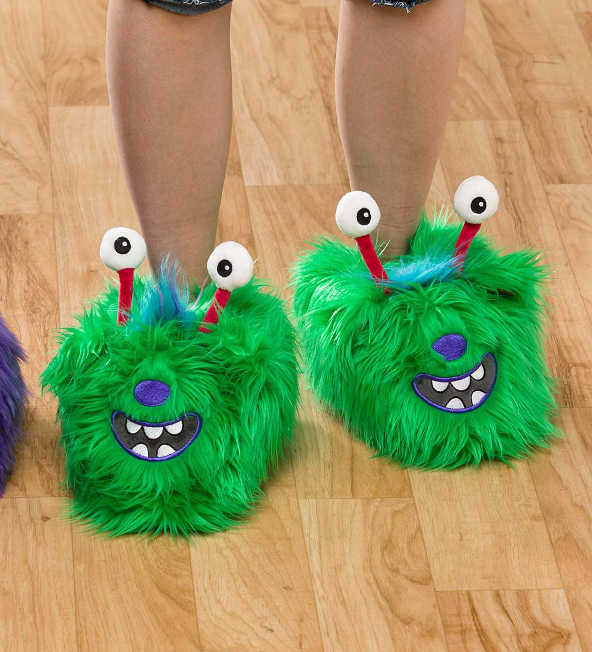 Green Monster Slippers - Small (child's 10–12)