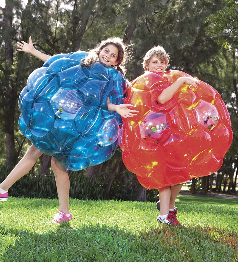 "Set of Two 36"" Inflatable Buddy Bumper Balls with Colorful Confetti and Motion-Activated LED Lights"