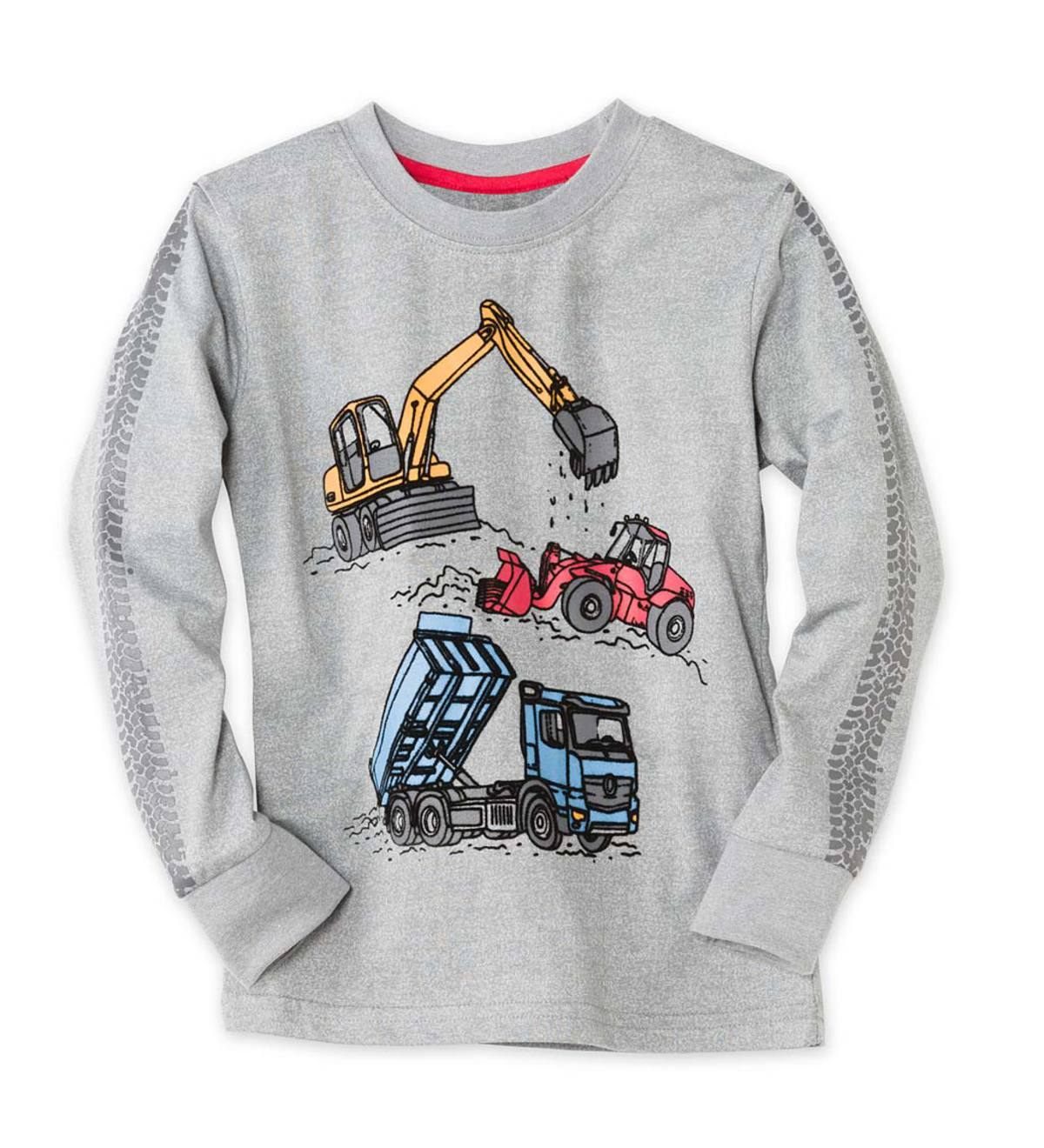 Long-Sleeve Construction Vehicles Tee - GY - 2T