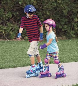 Two-in-One Adjustable Inline Roller Skates with Helmet and Adjustable Pads
