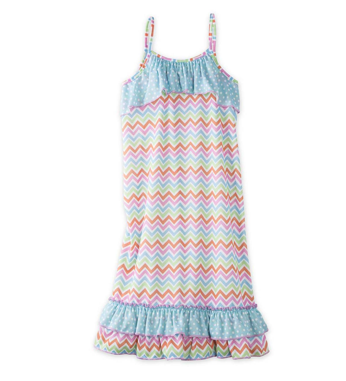 Sleeveless Chevron Night Gown - MLT - 7