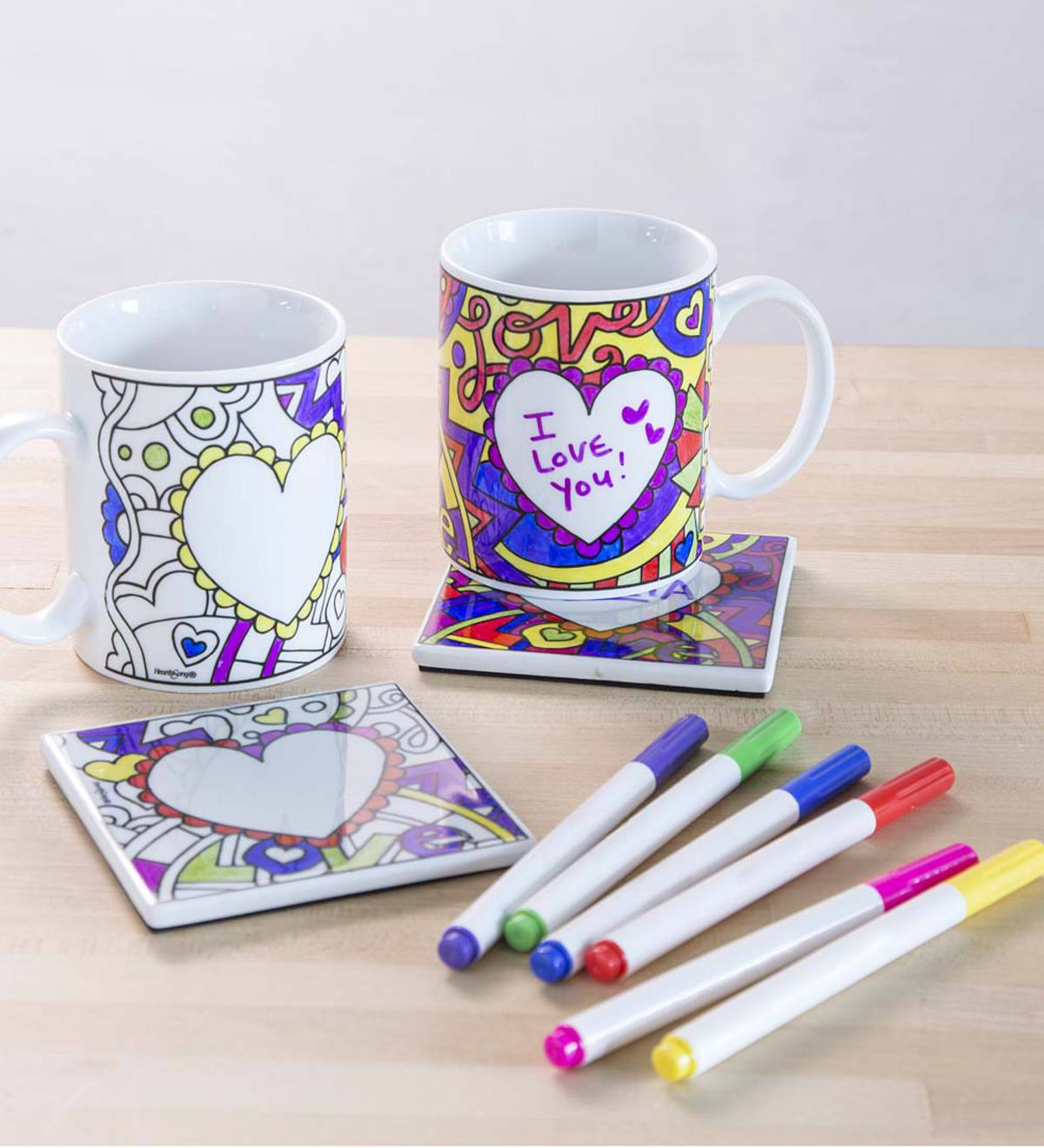 Color Pops® Color-Your-Own Valentine Mug and Coaster