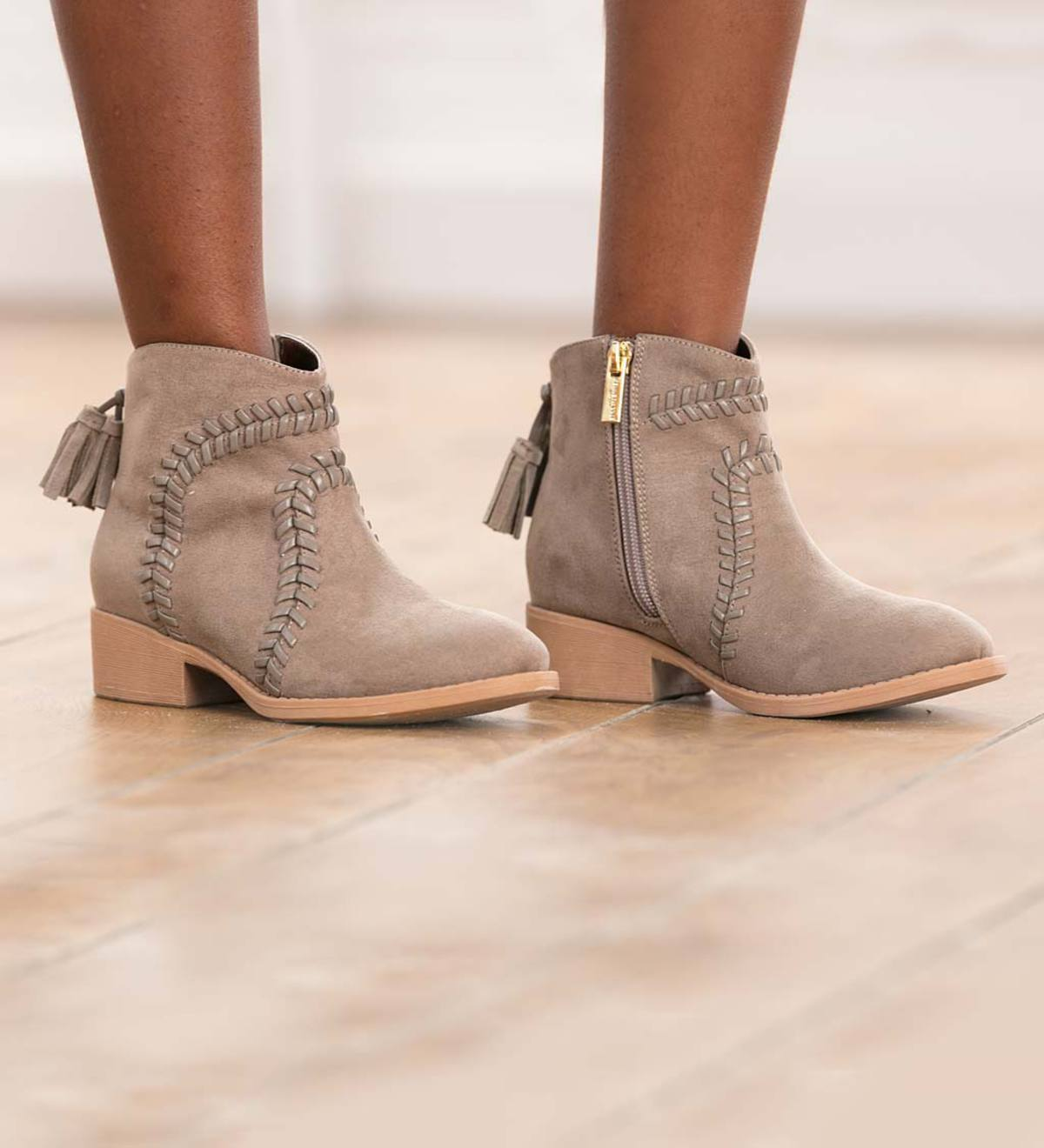 Stitched Suede Bootie - Sand - Size 3