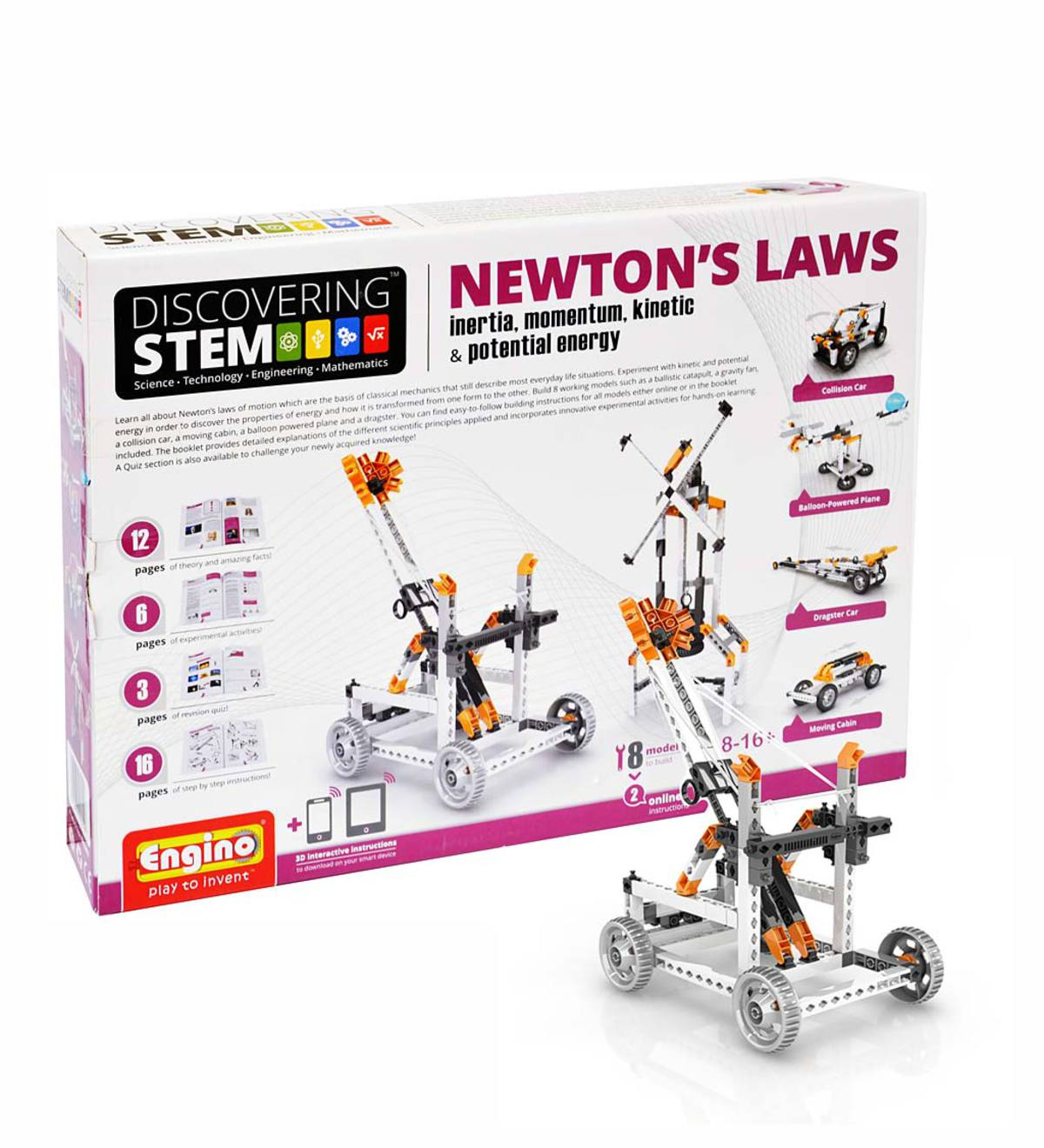 Engino Discovering STEM: Newton's Laws of Inertia, Momentum, Kinetic, and Potential Energy Construction Kit