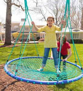 Sky Island Outdoor Platform Swing With Nylon Rope and Padded Steel Frame