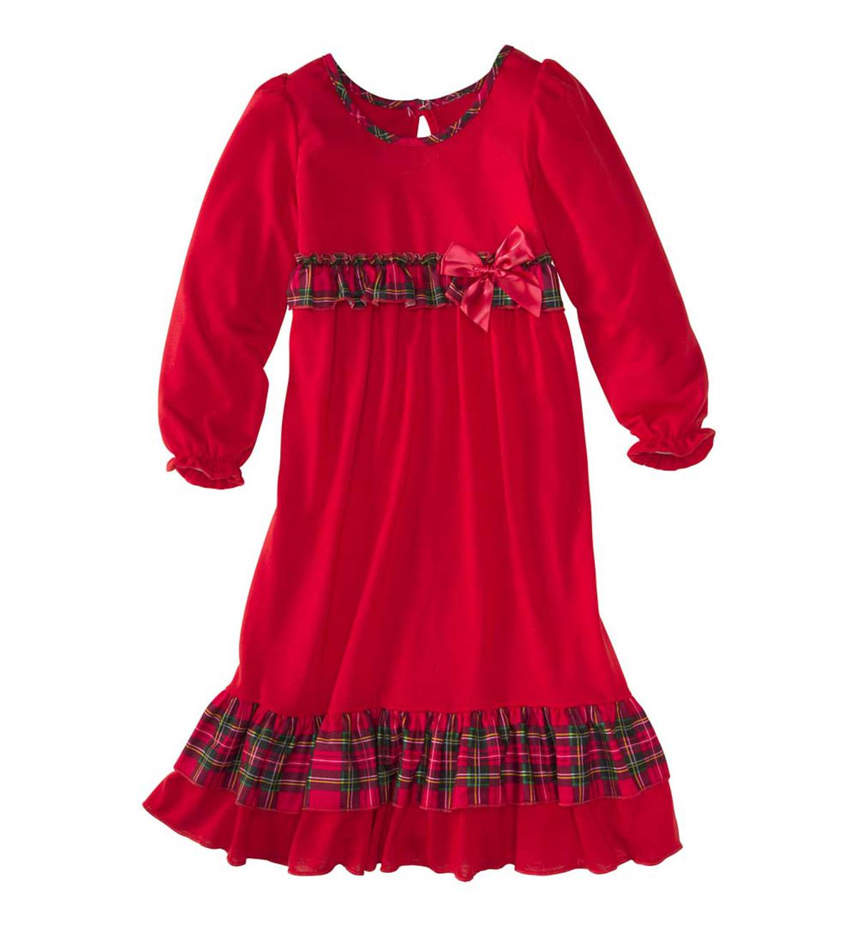 Plaid Ruffle Gown - Red - 18M