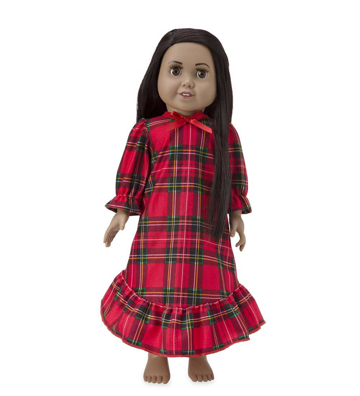 Plaid Ruffle Doll Gown - Red - 1