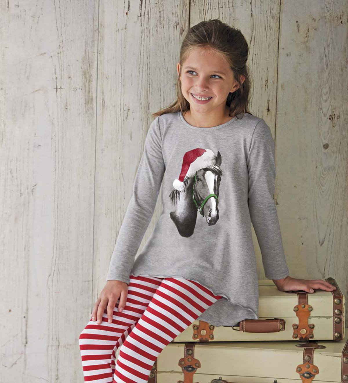 Holiday Horse High-Low Tunic - Gray - 18