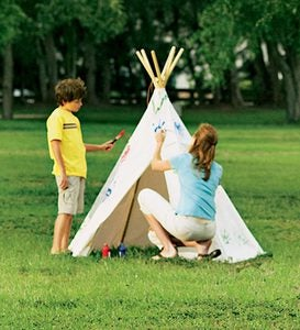7' Children's Cotton Canvas Teepee with Wooden Poles and UL-Plug-In Teepee Lights