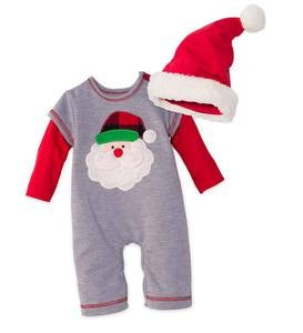 Santa Appliqué Onesie & Hat Set