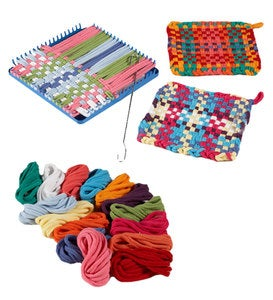 Hook and Loop Potholder Set with Loom, Weaving Hook, and 115 Cotton Loops