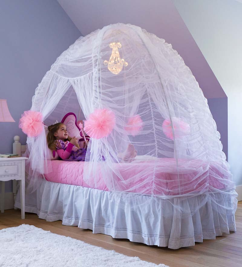Fairy-Tale Bed Tent With Light-Up Beaded Chandelier