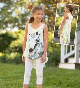 Sleeveless High-Low Horse Tunic - Multi - 10