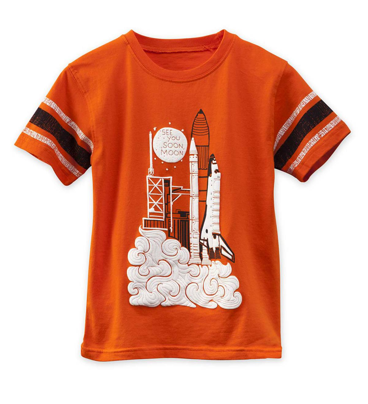"Short Sleeve Rocket Ship ""See You Soon, Moon"" Graphic Tee - Orange - /12"