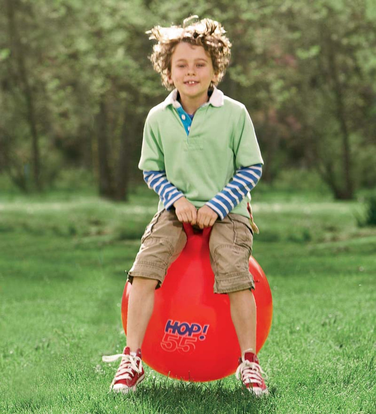 "Red Inflatable Heavy-Duty Vinyl Hop Ball, 21½""H"
