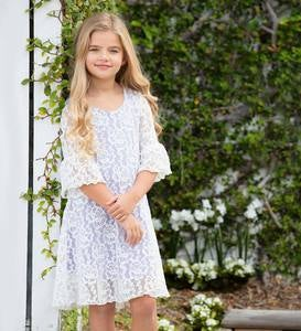 Floral Lace Bell Sleeve Dress - White - /12