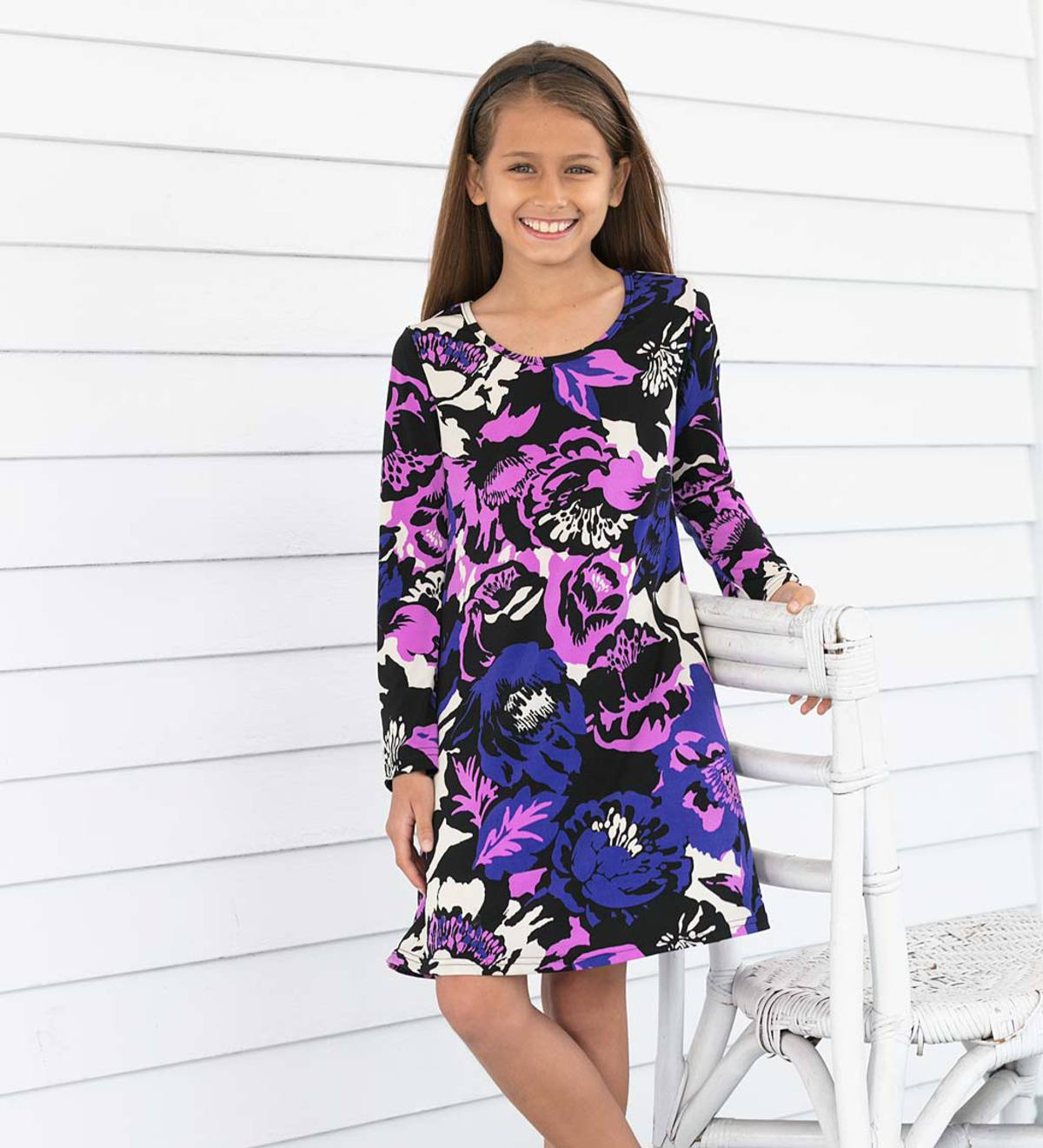 Long-Sleeve Floral Print Dress