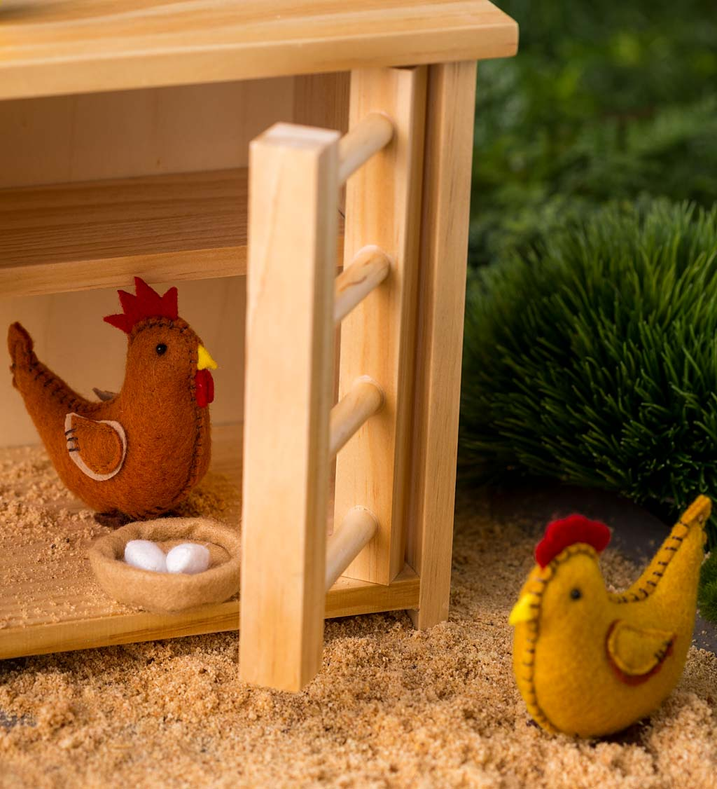 Wooden Chicken Coop and Felt Chickens Play Set