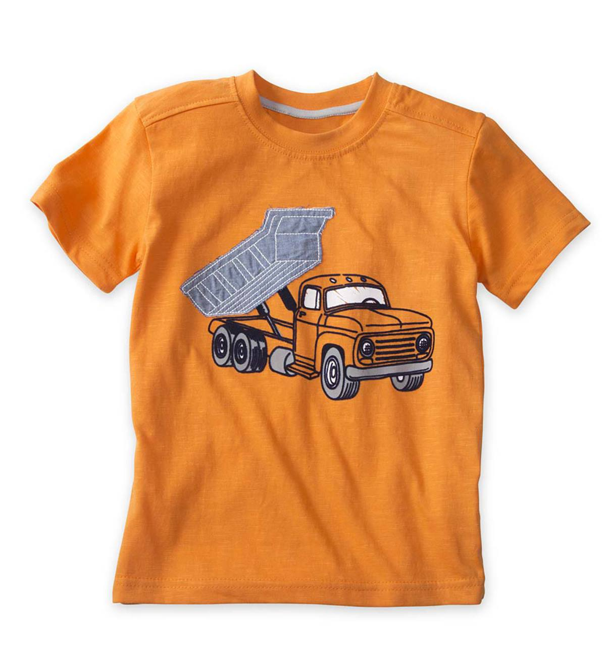 Short Sleeve Dump Truck Graphic Tee - Orange - 5/6
