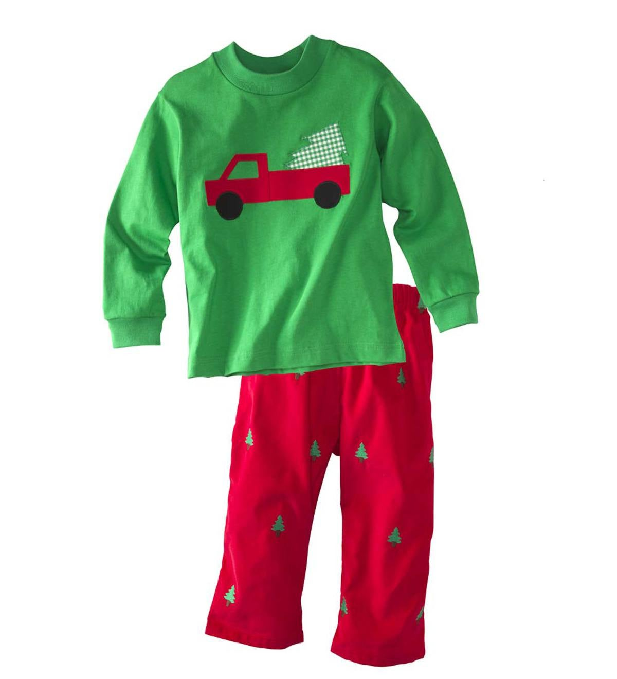 Applique Tree & Trucks Pants Set - Multi - 4T