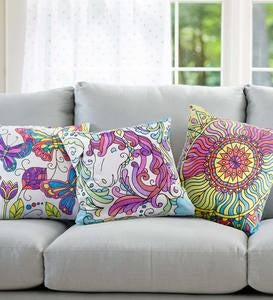 "Color Pops Color-Your-Own Pillow Kit, Machine Washable, 15"" sq. Canvas Pillow Cover"