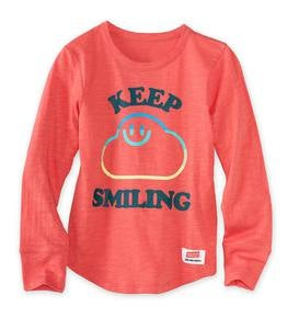 "Long-Sleeve ""Keep Smiling"" Cloud Tee"