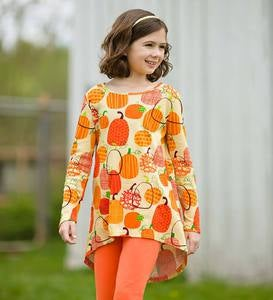Patterned Pumpkins High-Low Tunic