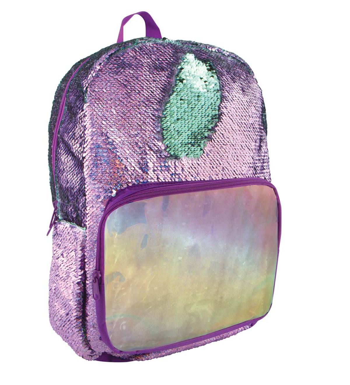 Purple/Seafoam Holographic Sequin Backpack