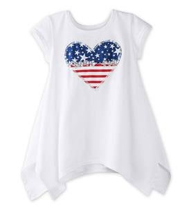 Cap Sleeve Heart Flag Tunic - MLT - 10