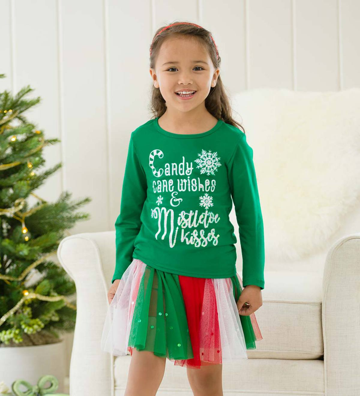 Candy Cane Wishes Tee - Green - 8