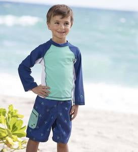 Anchor Rash Guard and Swim Trunks Set