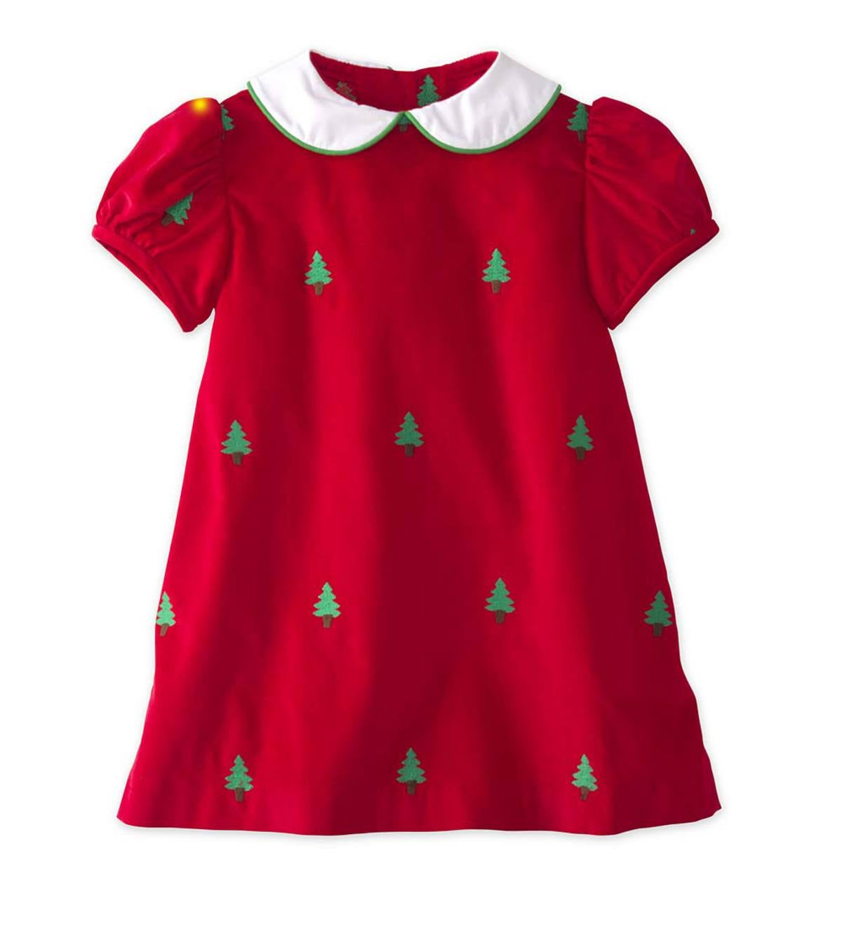 Embroidered Tree Dress - Red - 24M
