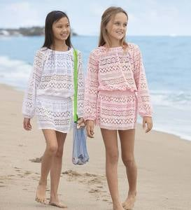 Long Sleeve Smocked Crochet Cover-Up