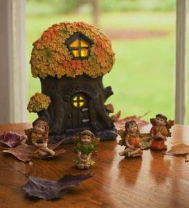 Mini Fall Fairy Oak Tree and Mini Fall Oak Fairies