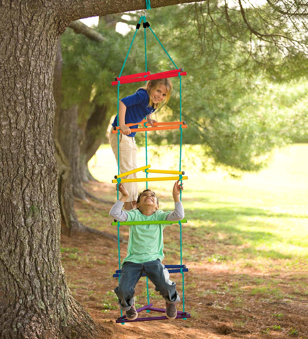 Rainbow Triangle Rope-Climbing Ladder with Metal Rungs