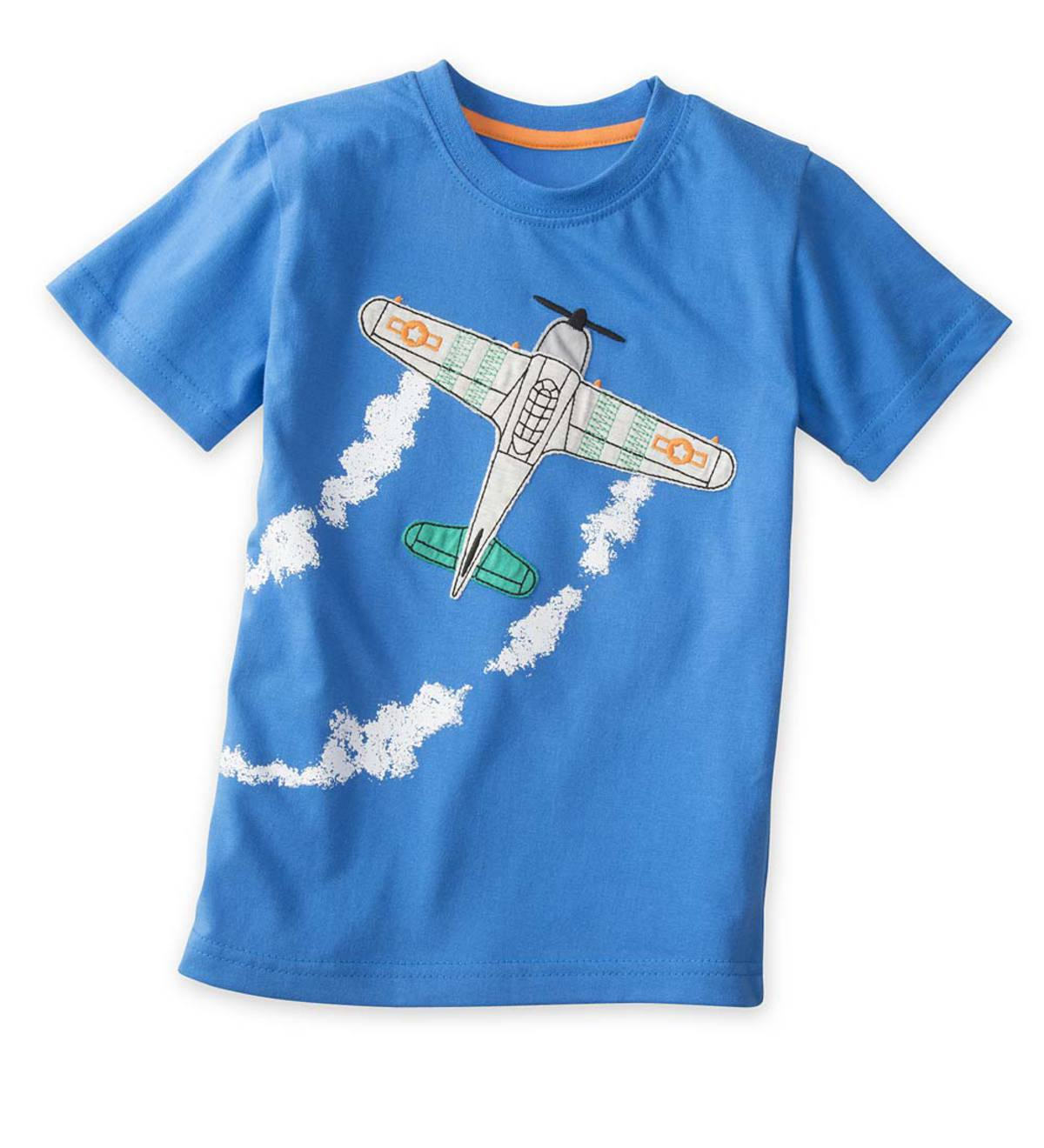 Short Sleeve Airplane Graphic Tee - Blue - 5/6