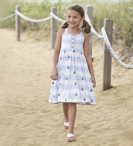 Anchor Back Halter Sailor Dress - BL - 2T