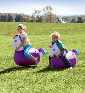 Inflatable Ride-On Hop 'n Go Unicorns with Weighted Bottoms and Protective Covers, Set of 2