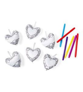 Color Pops® Color-Your-Own Soft Fabric Hearts (set of 6)