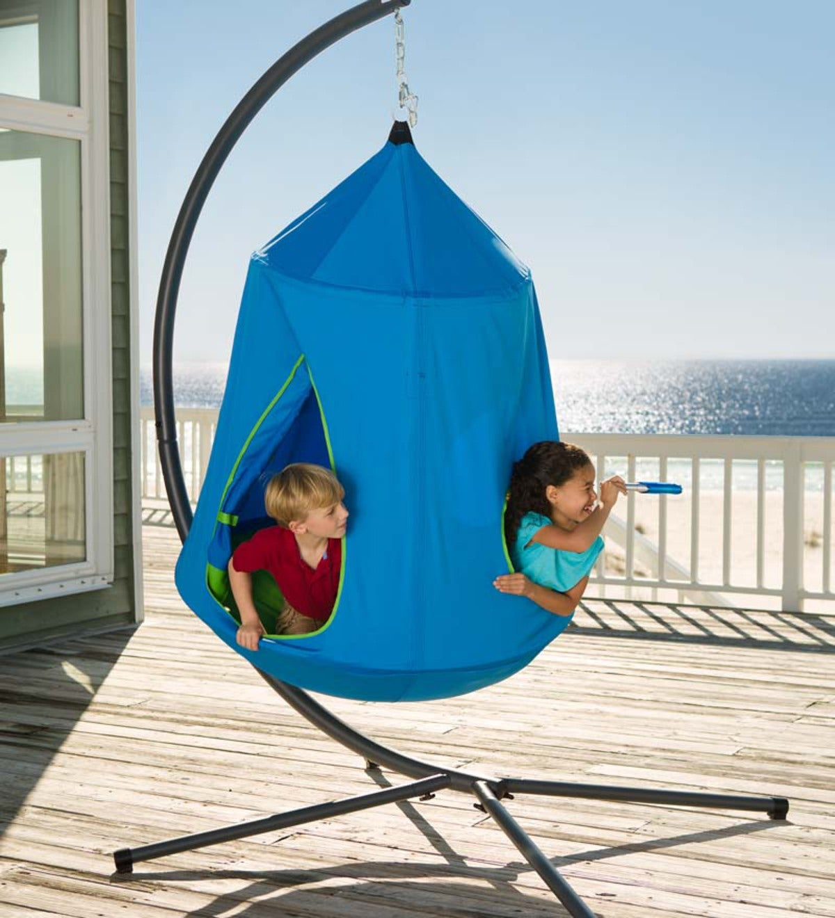 HugglePod HangOut Indoor/Outdoor Hanging Tent Special with LED Lights and Stand