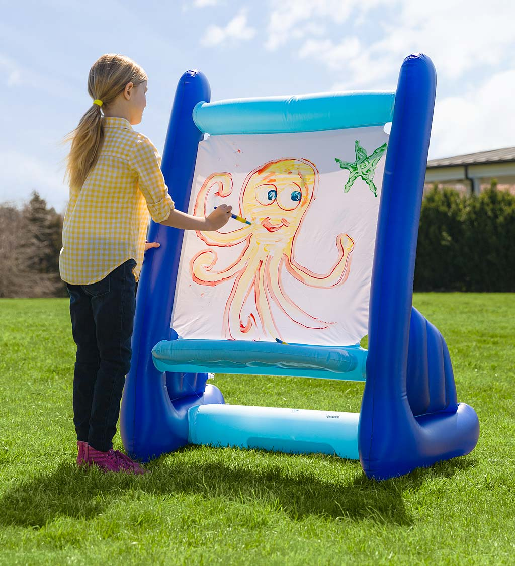 inflatable easel is a great creativity option for your summer play space for kids